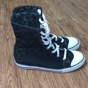 Women's Black Coach High Top Shoes Sz 8.5